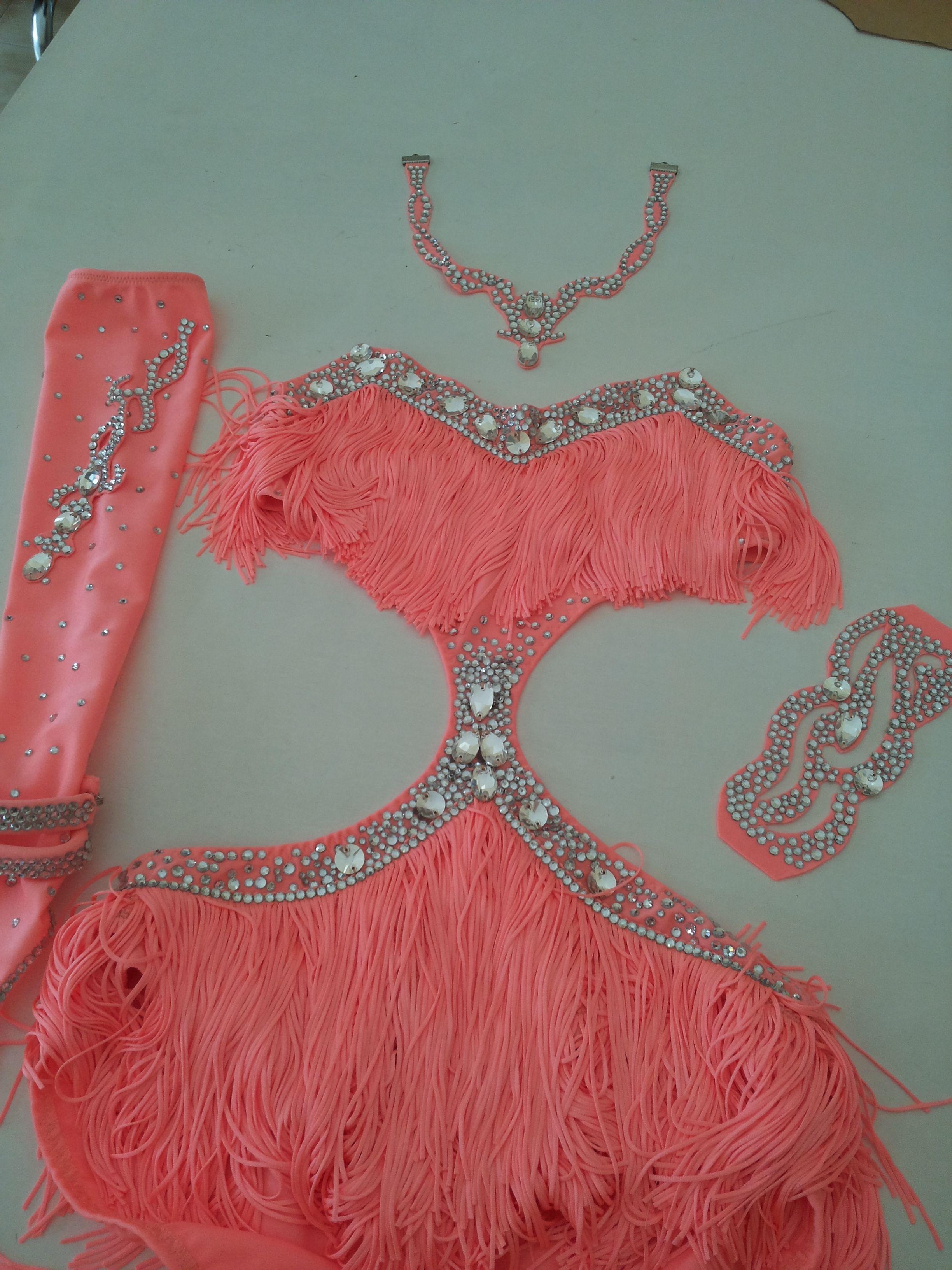 latin ballroom dress, salsa shine fringe www.crinolinatelier.it ...