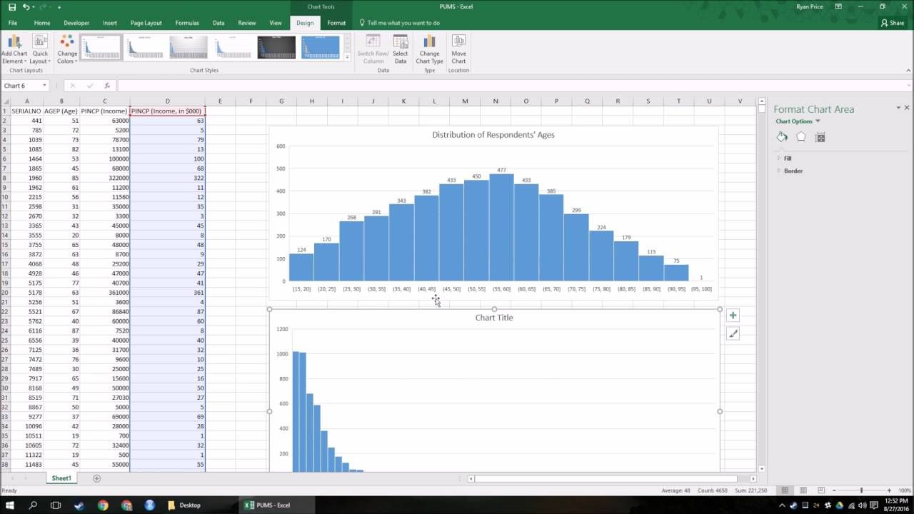 How To Make A Histogram In Excel 2016 Histogram Classroom Computers Chart Tool