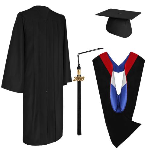 Eco-Friendly Black Bachelor Graduation Cap, Gown, Tassel & Hood ...
