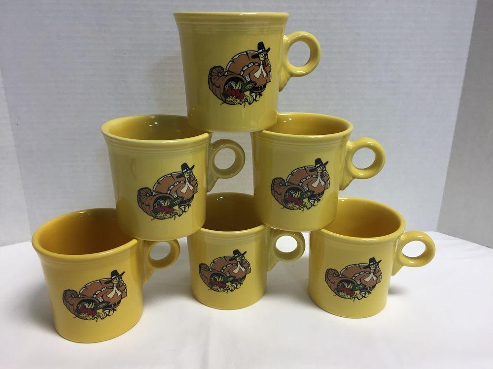 NEW Fiestaware Fiesta Ware Thanksgiving Turkey Cups Mugs E