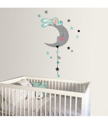 Vinilo infantil de tela dormido en la luna estilo nórdico ...