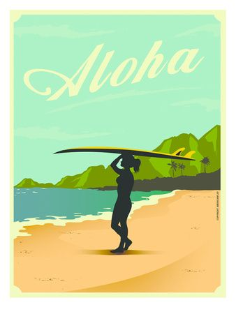 Places artwork and prints at hawaii pinterest - Coloriage surfeur ...