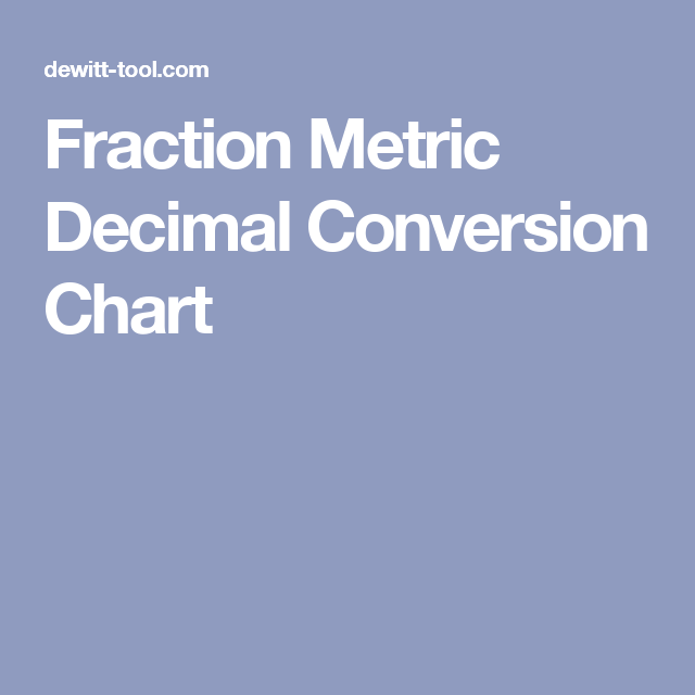 Fraction Metric Decimal Conversion Chart  Woodworking Project