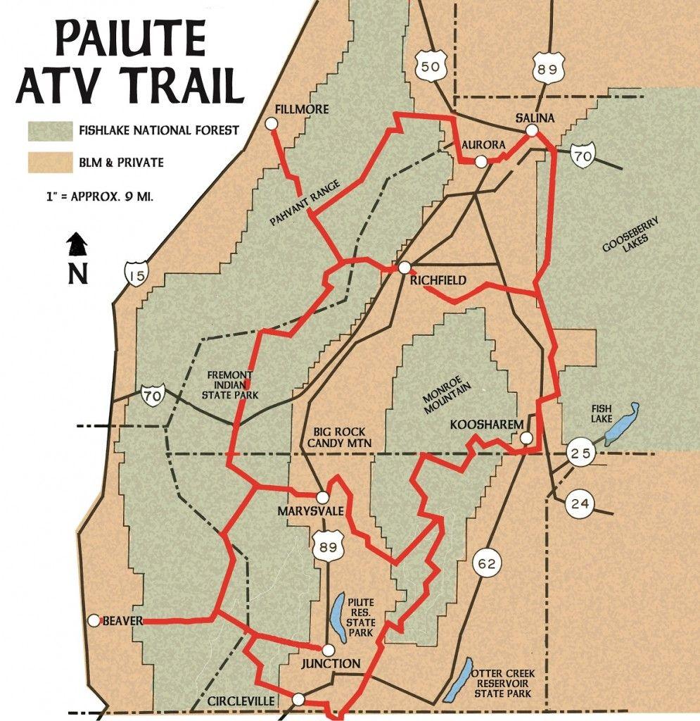 Marysvale Utah Map.Ut Paiute Atv Trail Map Utah In Its Depth In 2019 Pinterest