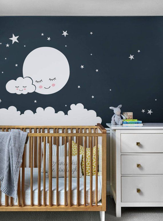 Moon, Clouds, and Stars Wall Decal Vinyl Wall Sticker