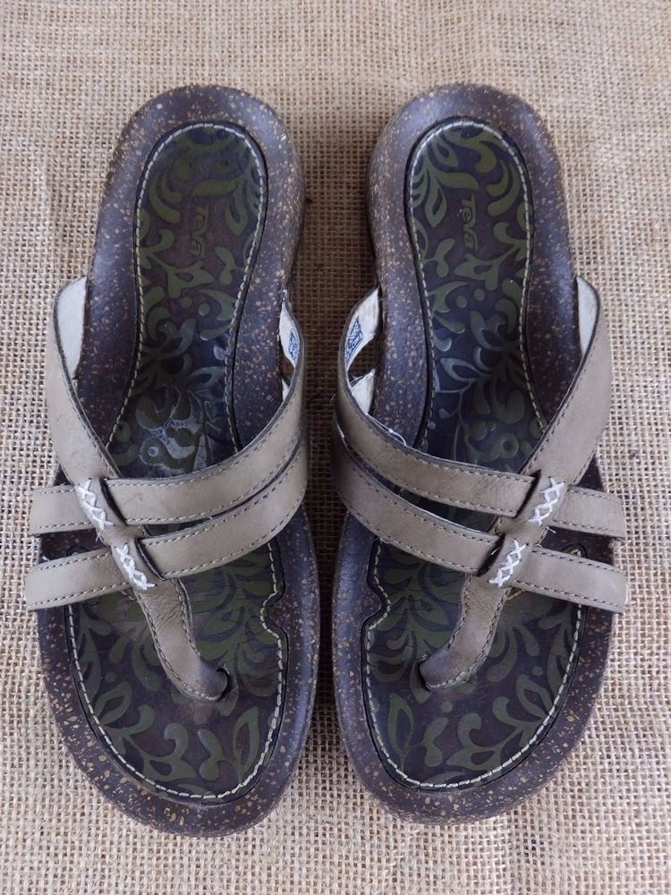 Brown Strappy 6589 Leather Sandals Toe Teva Flops Thong Flip Open 8fPqwP