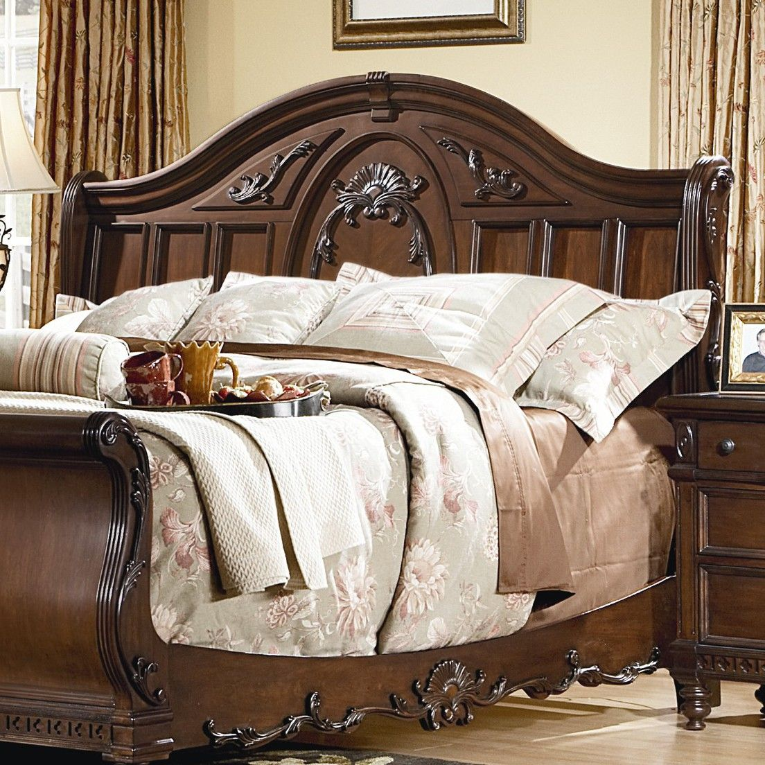 Kathy Ireland Home By Vaughan Southern Heritage Sleigh Bed Headboard In Rich Cherry