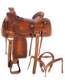 A Fork Ranch Work Leather Horse Saddle 15 17