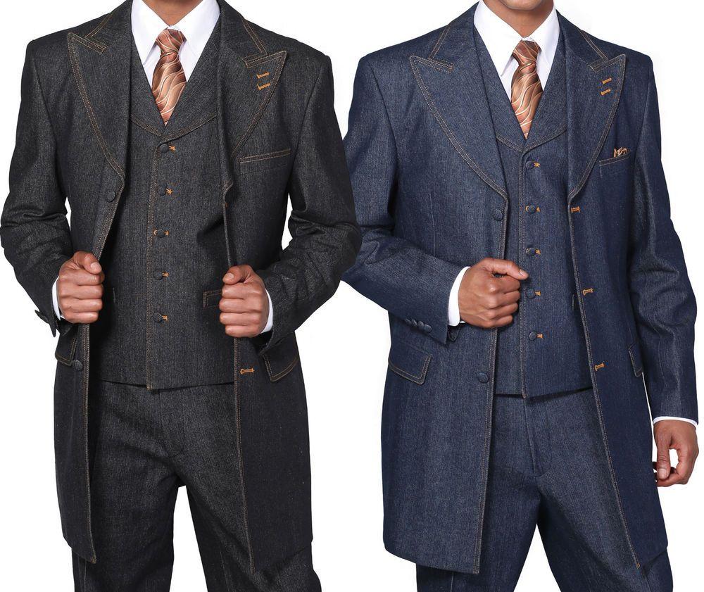 NWT Menu0026#39;s 100% Cotton Denim 3 Piece Suit with Double ...