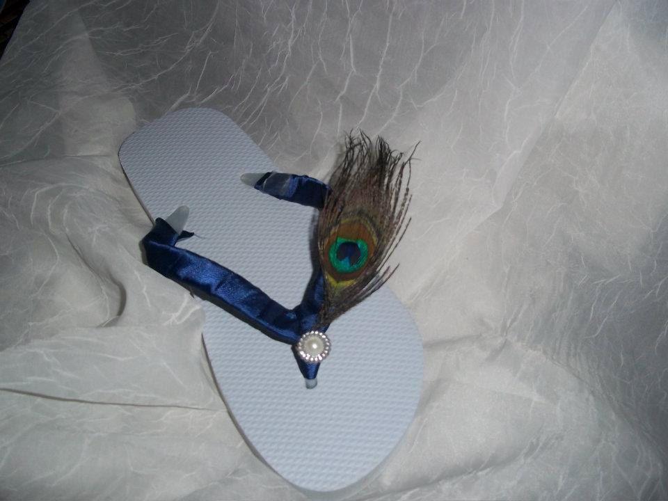 Peacock Themed Flip Flops. $15.50, via Etsy.