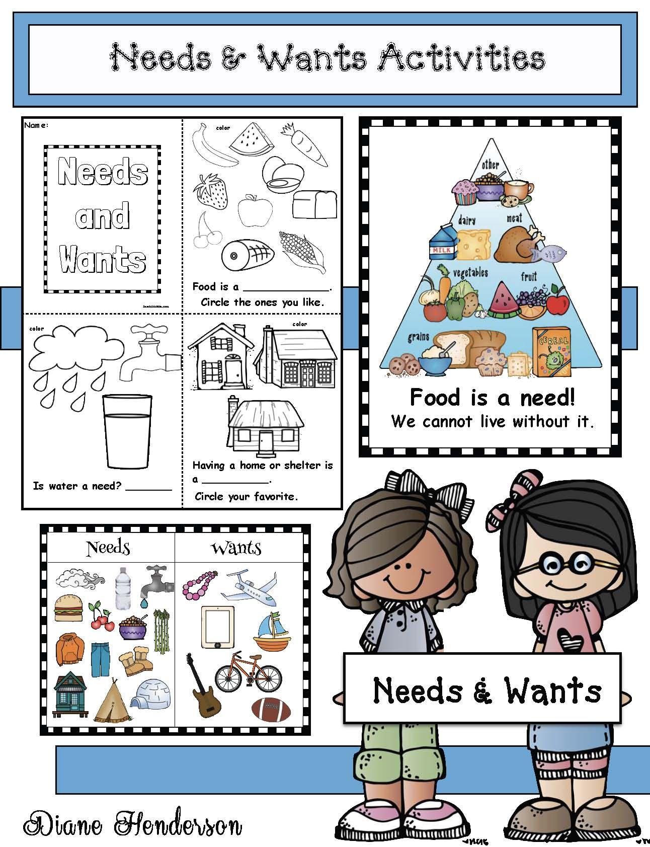 Activities For Needs Wants Kindergarten Worksheets Emergent Readers Kindergarten Social Studies