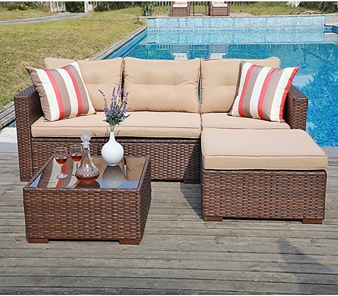 Amazon Com Sunsitt Outdoor Sectional Sofa 4 Piece Furniture Set Brown Wicker With Beige Seat Cush Outdoor Furniture Sets Patio Sofa Set Outdoor Sectional Sofa