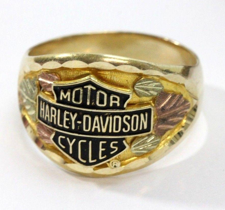 a004723cf4c8c 10K Black Hills GOLD HARLEY DAVIDSON Motorcycles Shield Mens RING ...