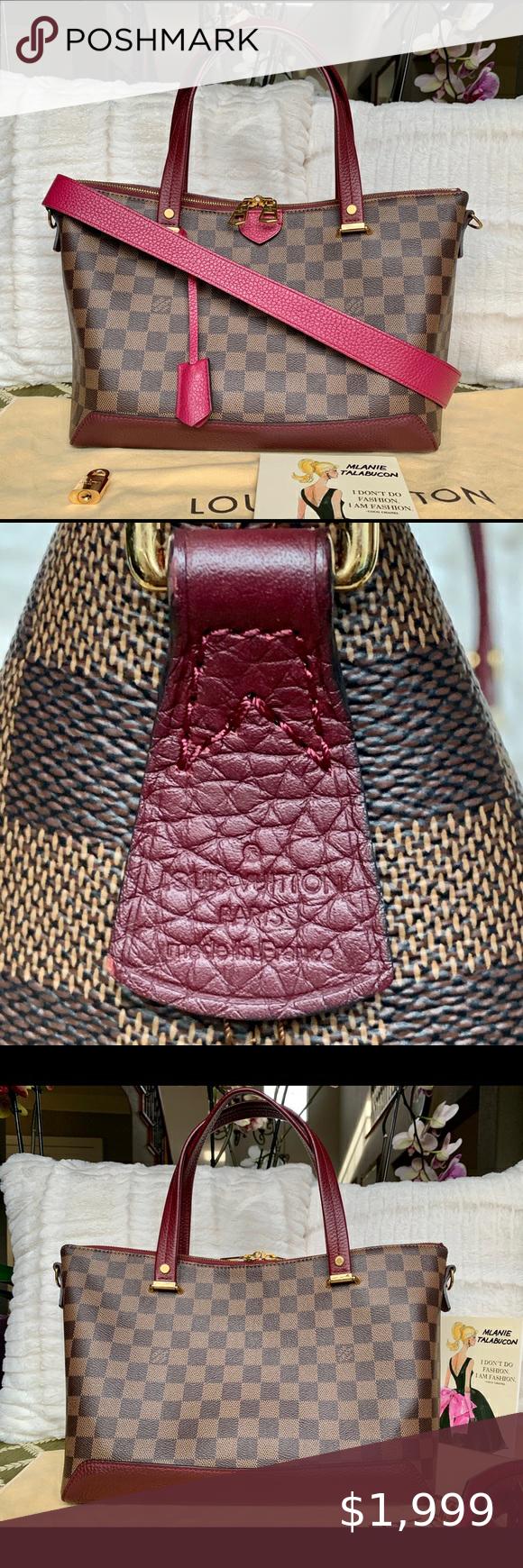💯Auth Louis Vuitton Hyde Park Fuchsia Shoulderbag 2017 Hyde Park Damier Ebene Fuchsia Shoulder Bag  Made: France Code: AH0137 Size: W 13.5