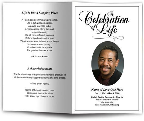 Funeral Program Obituary Templates Memorial Services Funeral