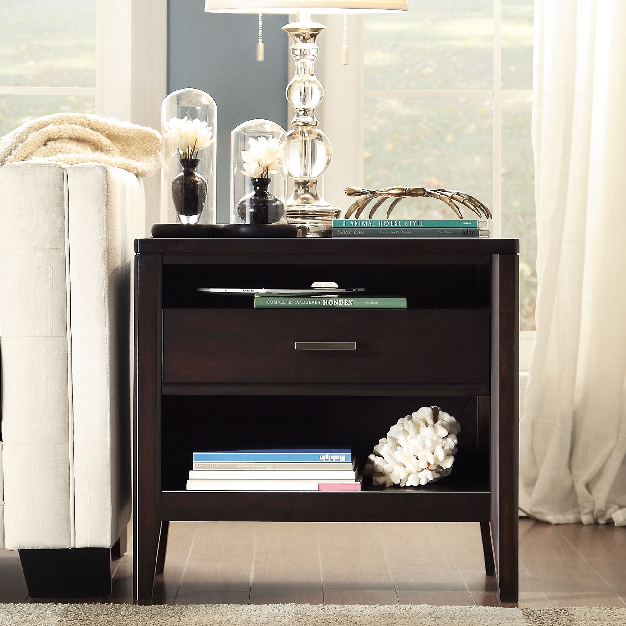 INSPIRE Q Sierra Espresso 1-Drawer Wood Open Accent Table by iNSPIRE Q
