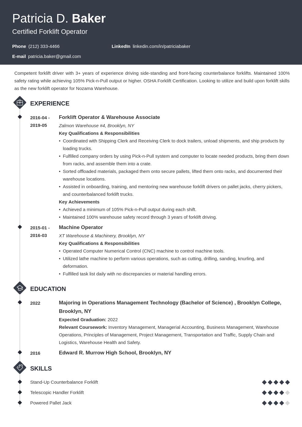 forklift operator resume example template diamond Resume