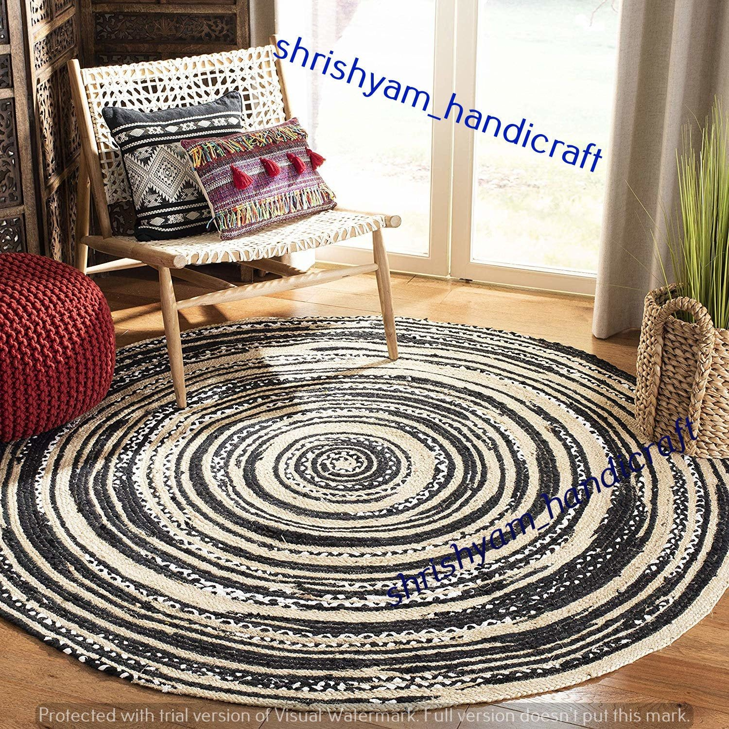 Jute Area Round Natural Floor Dhurrie Hand Crafted Rag Rugs Indian Braided Mat