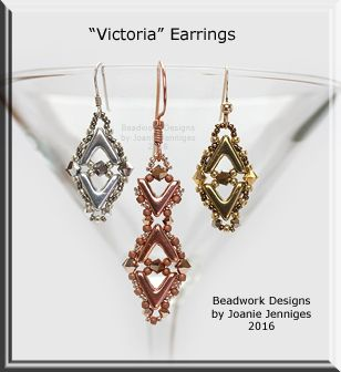 """Victoria-Double V"" Earrings - Beadwork Designs by Joanie Jenniges"