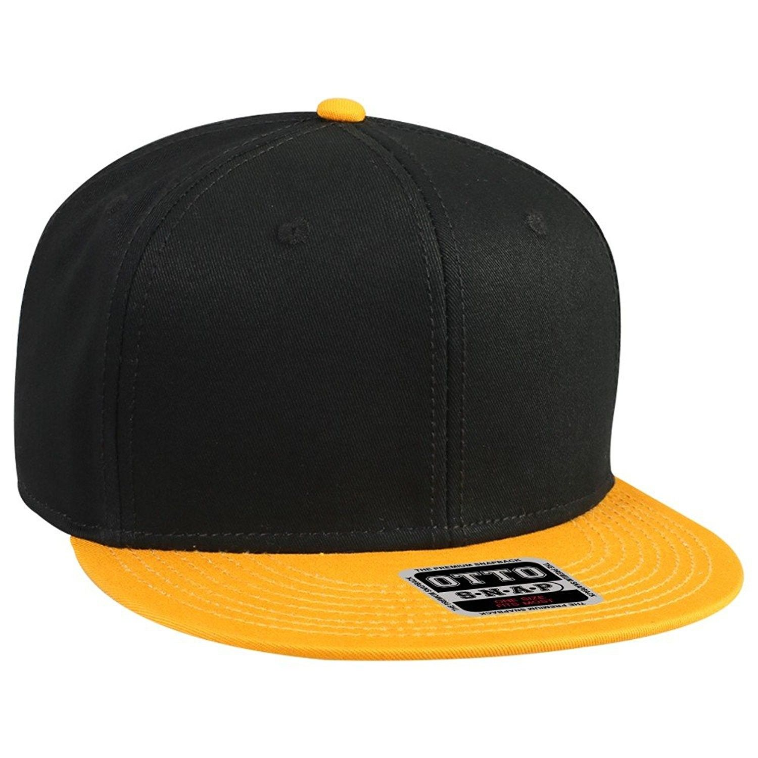 63fc6635 Otto Snap Cotton Twill Round Flat Visor 6 Panel Pro Style Snapback Hat -  Gld/Blk/Blk - CR12FN5VYW1 - Hats & Caps, Men's Hats & Caps, Visors #hats # caps ...