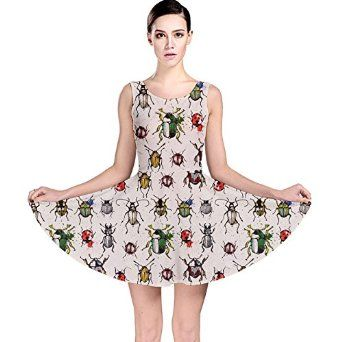 CowCow Womens Pattern with Watercolor Beetles Skater Dress at Amazon  Women s Clothing store  31d3151d2