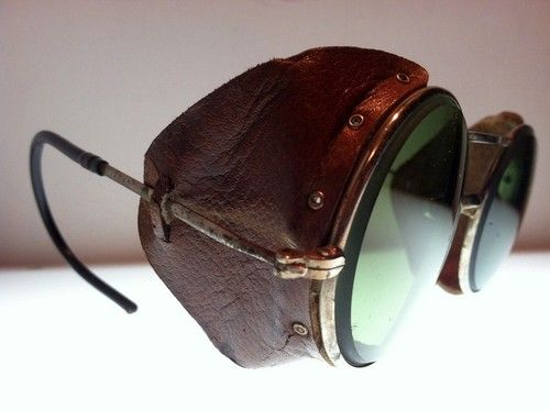 9cba1eef05d Vtg Green Motorcycle Antique AO Matsuda Sunglasses Safety Glasses Goggles  WWII