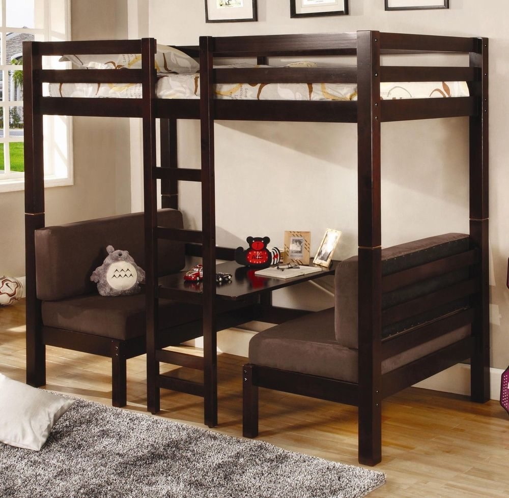 Captivating Twin Size Convertible Loft Bunk Bed Ladder Table Soft Cushion Seating  Cappuccino Pictures Gallery