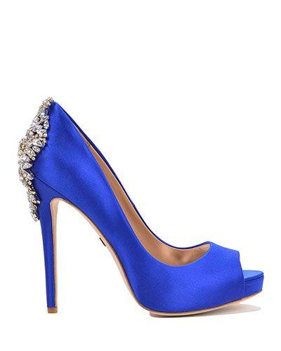 b5777f7c5547 Kiara Embellished Peep-Toe Pump Evening Shoe by Badgley Mischka ...