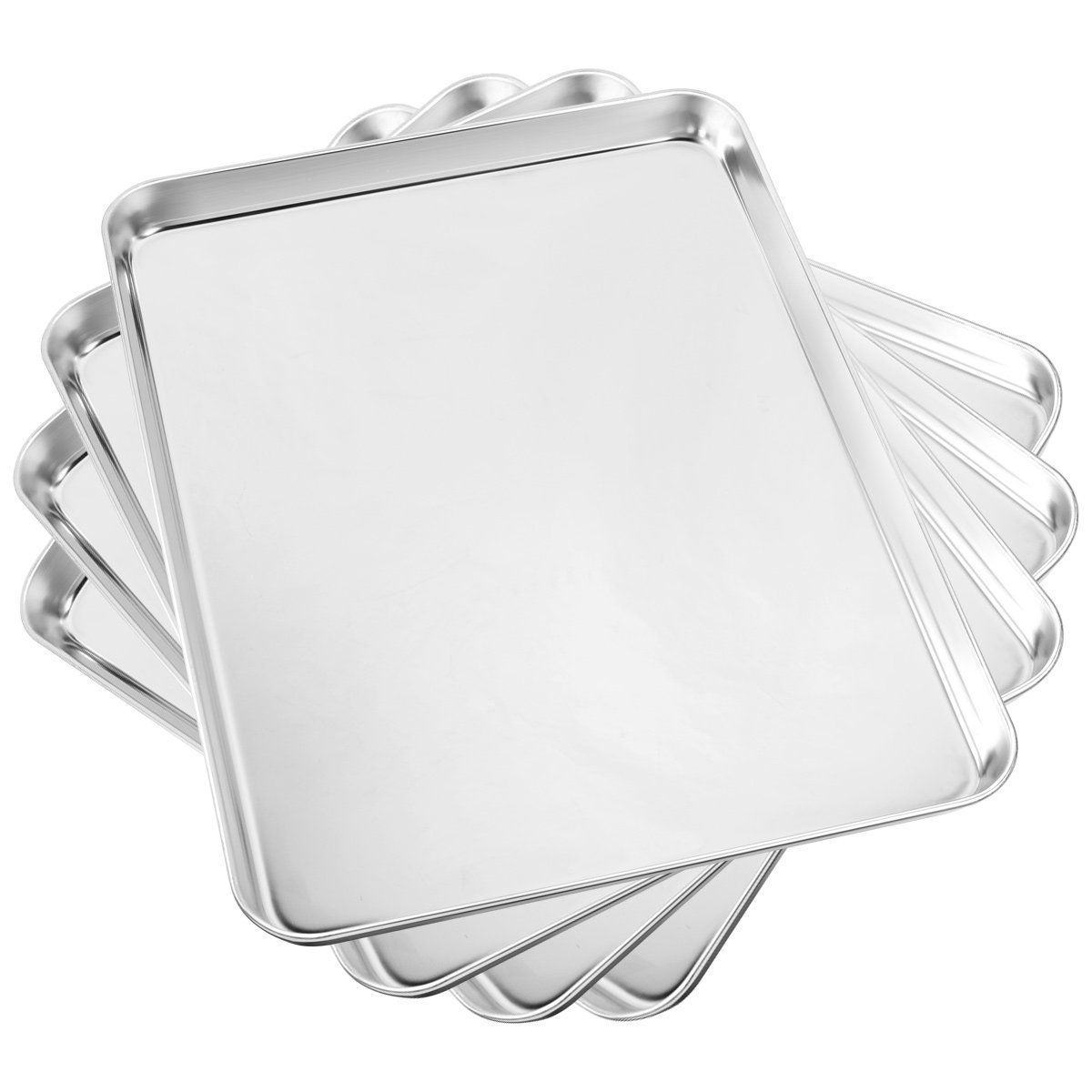 Baking Sheet Set Of 4 Yododo Cookie Sheets Metal Stainless Steel Tray Baking Pans Rectangle Size 16 X 12 X 1 Inch Mirror P Easy Cleaning Rust Free Stainless