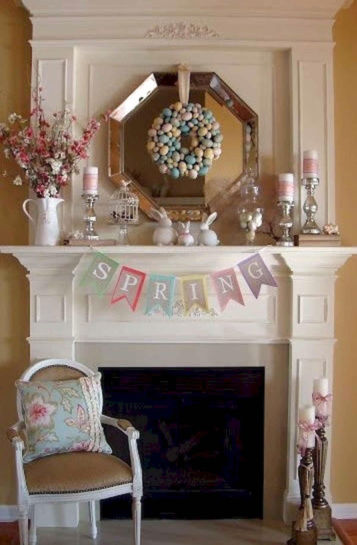 Best Modern Farmhouse Fireplace Mantel Decor Ideas Frugal Living Easter Mantle Spring Easter Decor Spring Mantle