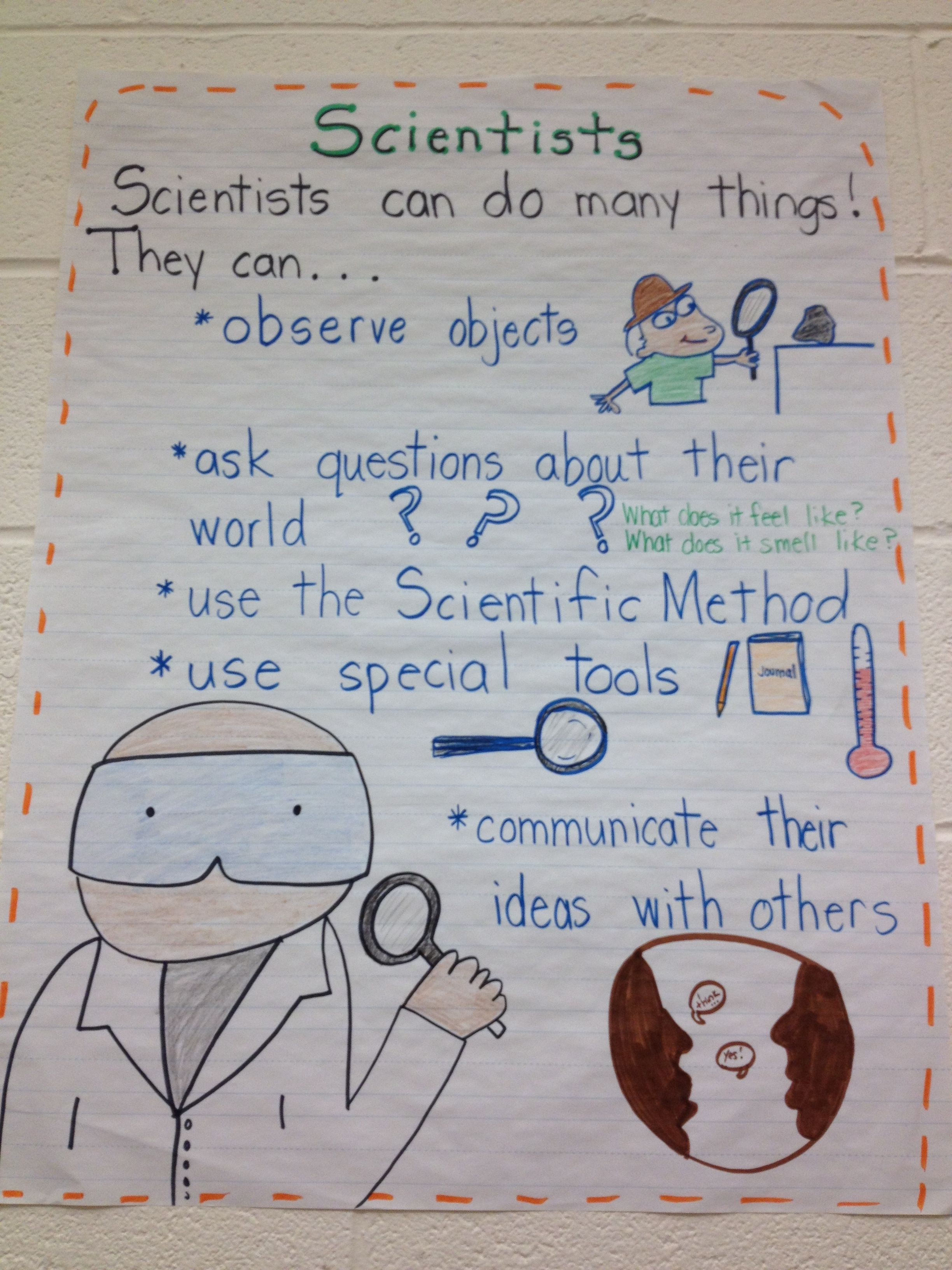 Scientist Anchor Chart Kindergarten Science And Social