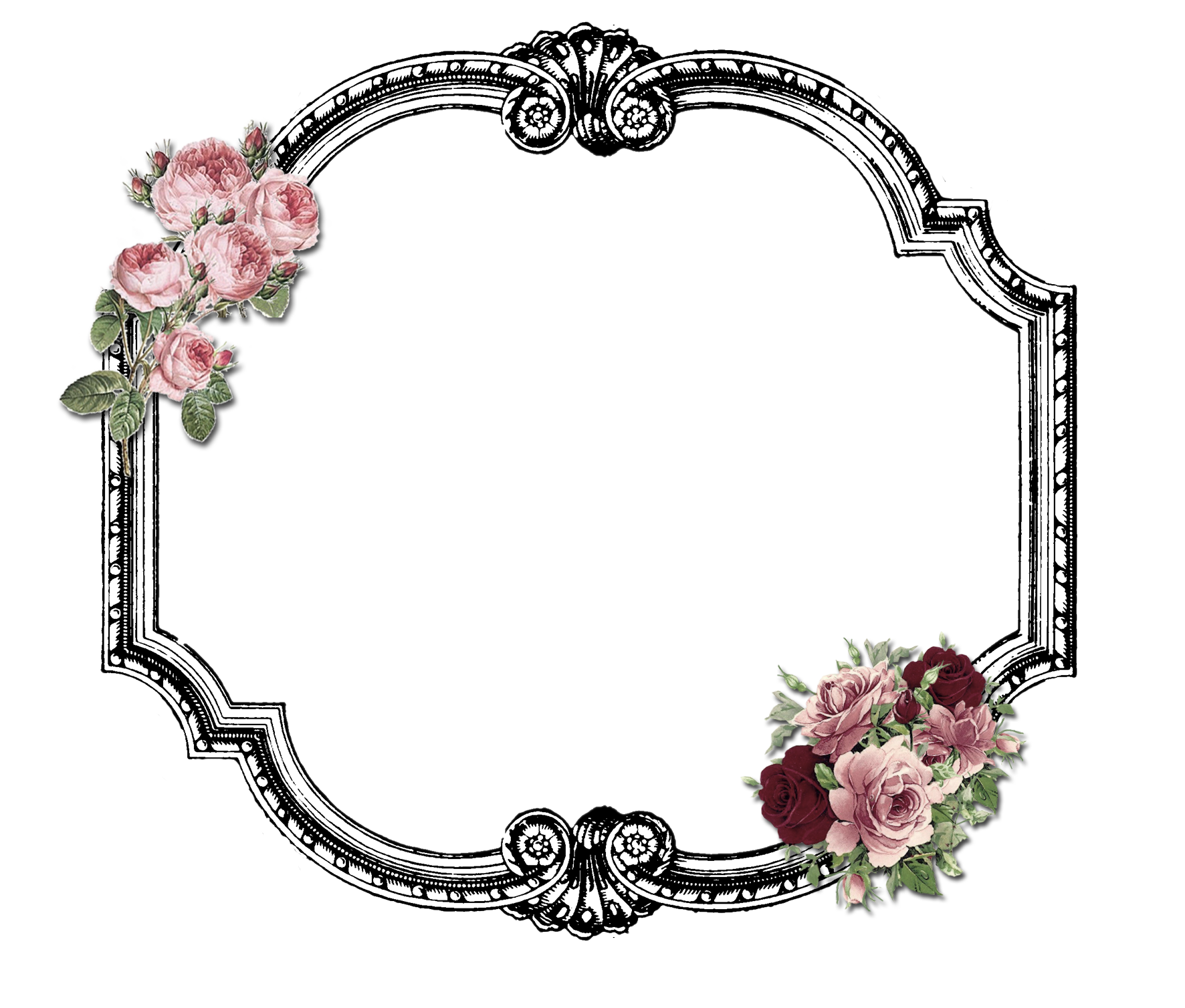 Printable Frame Roses Printable Frames Antique Frames Decoupage Printables