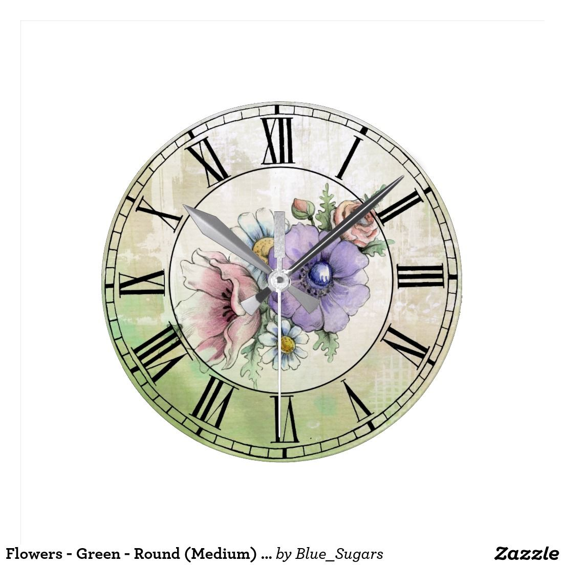 Flowers - Green - Round (Medium) Wall Clock - cant decide if this would go in a kitchen or living room