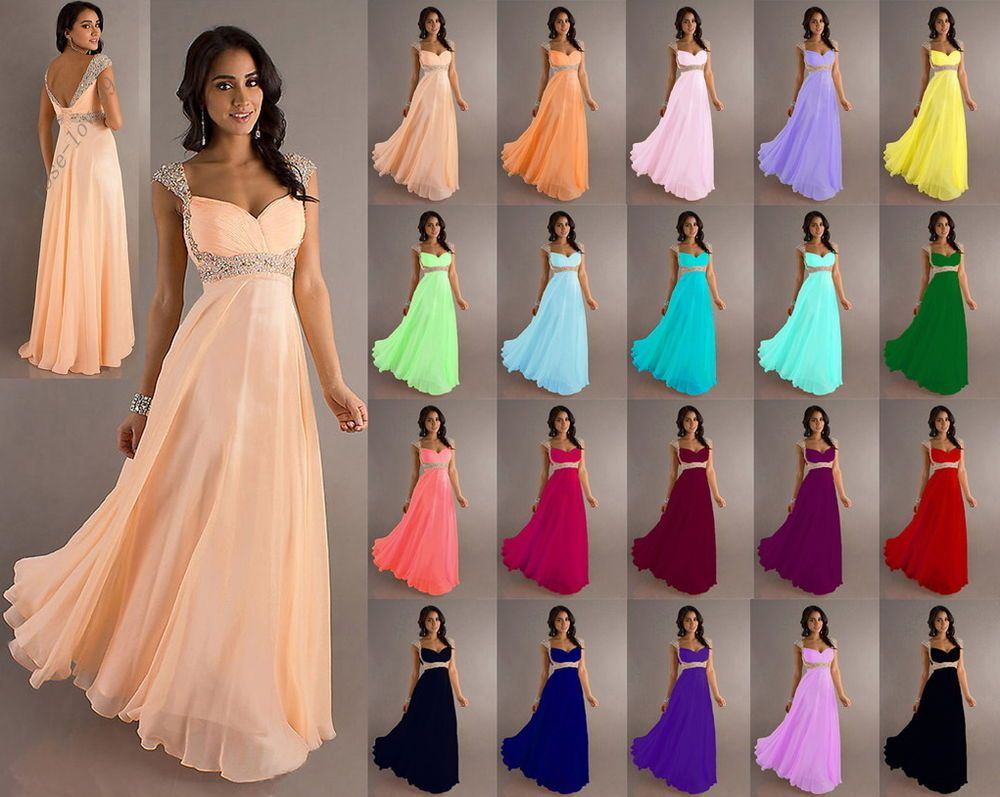 Stock chiffon straps long formal ball evening party bridesmaid dress