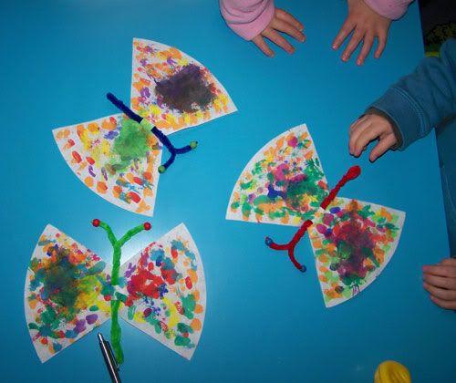Schmetterlinge aus filtert ten basteln pinterest schmetterlinge fr hling und kita - Fruhlingsbasteln kindergarten ...