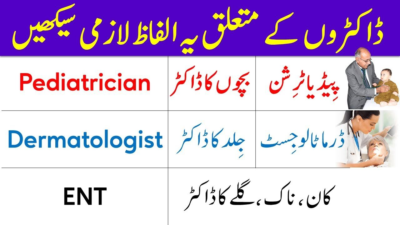 Medical Vocabulary In Urdu Types Of Doctors Vocabulary Words And Terms Vocabulary Words Vocabulary Words