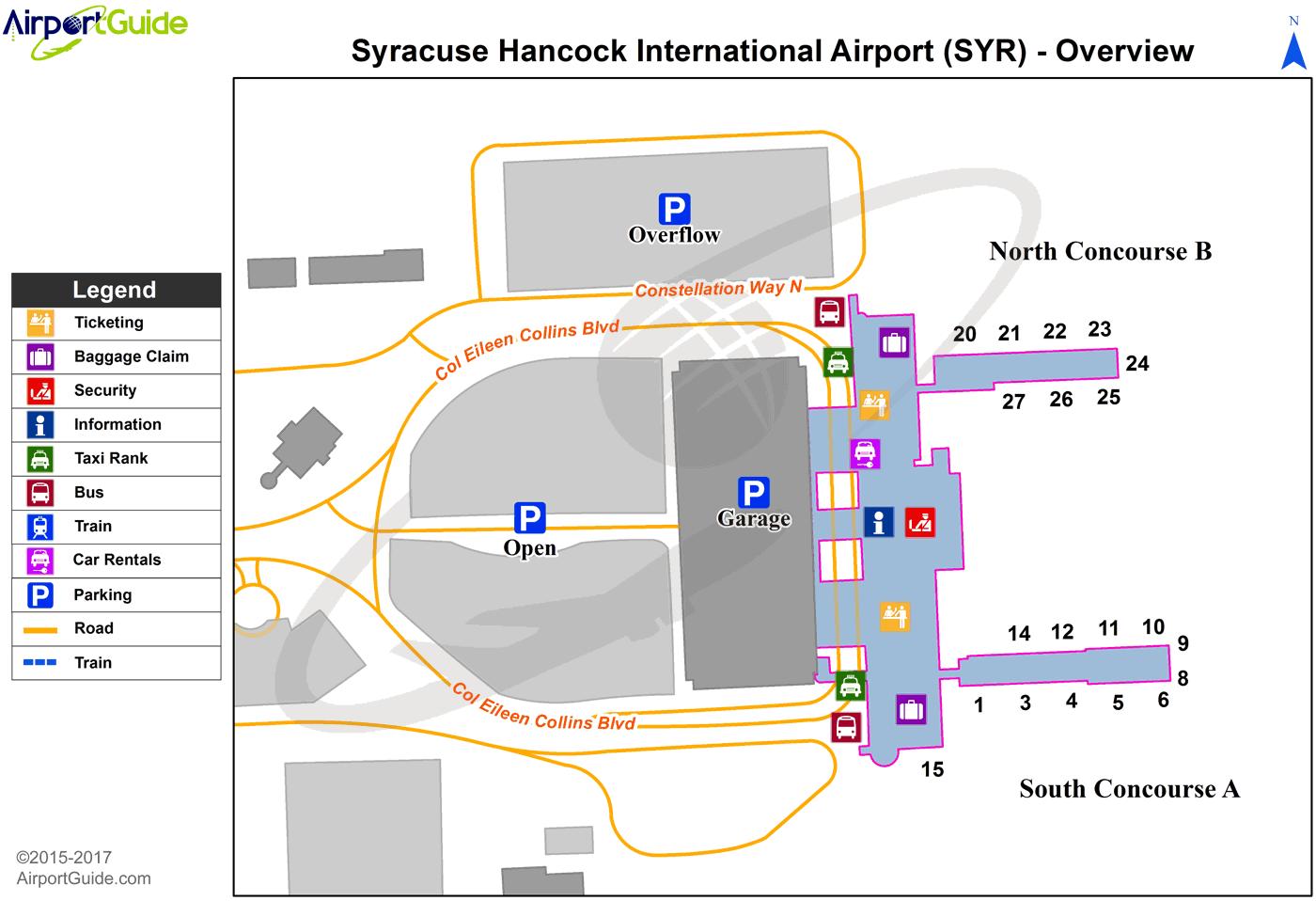 syracuse airport terminal map Syracuse Syracuse Hancock International Syr Airport Terminal syracuse airport terminal map