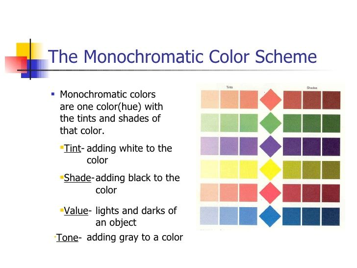 Image result for color wheel color schemes monochromatic