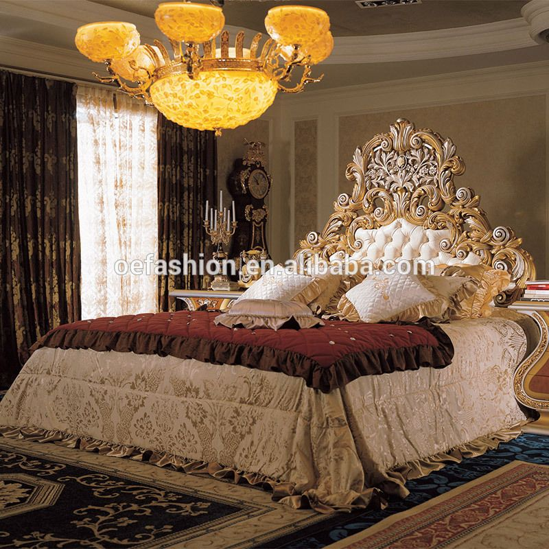 Oe Fashion French Rococo Design Gold Leaf Carving King Size Bed European Classic Royal Luxury Golden Wooden Bedroom View European Royal King Size Bed Oe Fash Italian Bedroom Furniture Italian Bedroom Italian Furniture