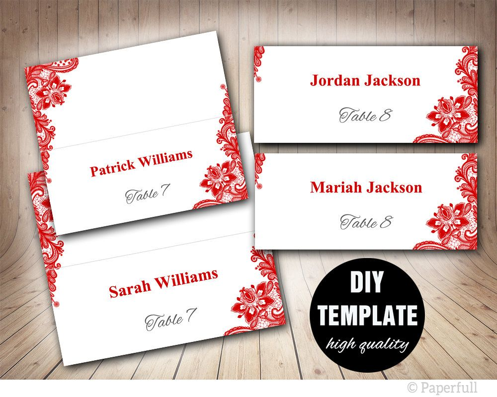 Red Wedding Placecard Template Foldover, DIY Red Place card, Instant ...
