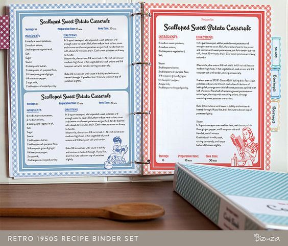 Recipe Book Binder Set, Retro 1950s Style, Printable