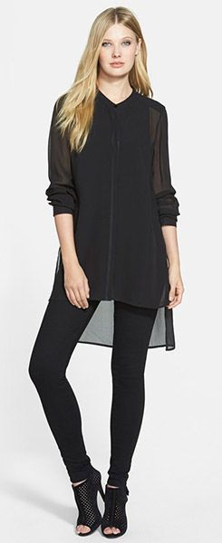 Eileen Fisher Mandarin Collar Long Silk Shirt | fashion ...