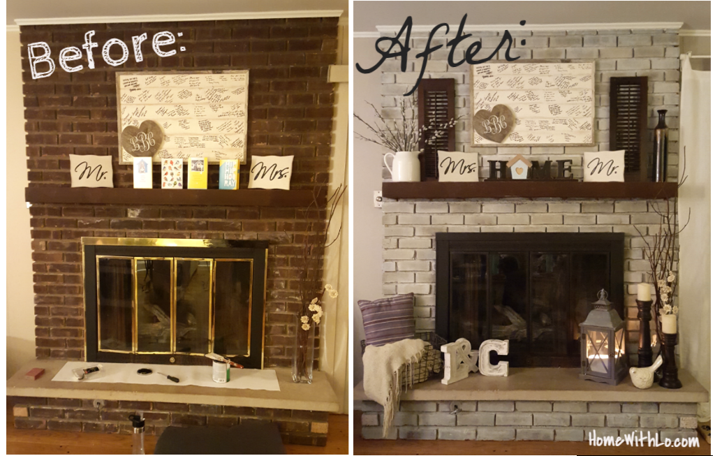 How I Updated Our Fireplace By Painting The Outdated Brass Cover And Used Various Techniques For Whitewashing The Brick Diy Projects Brick Fireplace Home