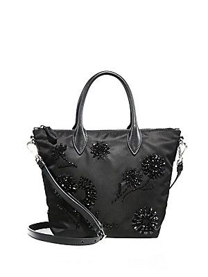 eaae6a26d0c8 Prada Floral-Beaded Nylon Tote - Black | Products | Prada tote bag ...