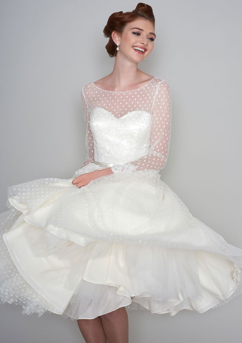 86-maisey Fifties style tea length wedding dress in dotty tulle and ...