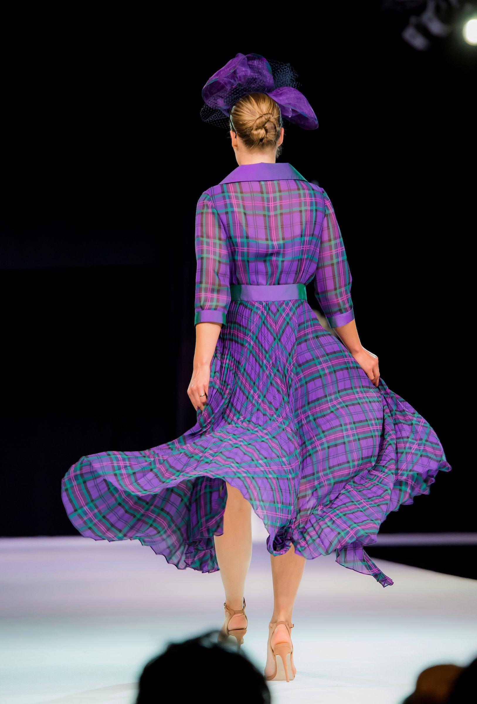 Backview Tartan chiffon coat | Joyce young couture | Pinterest ...