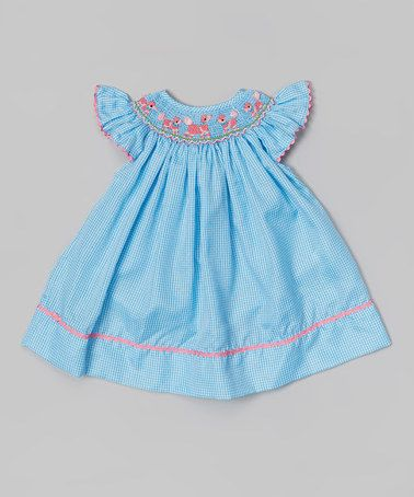 111750e69 Loving this Blue Gingham Smocked Poodle Angel-Sleeve Dress - Infant &  Toddler on #zulily! #zulilyfinds