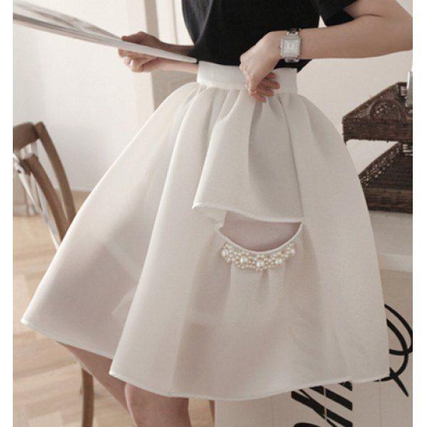 Con cuentas de moda color sólido adelgaza la falda del Organza para las mujeres