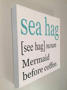 Mermaid sign, FREE SHIPPING, wood beach sign, coastal decor, beach quote, ocean decor, beach gift, mermaid gift, beach house decor, beach sign * This whimsical sea hag/mermaid sign will make you smile every time you see it! Its crisp, clean colors are a great coastal accent for #beachhousedecor #mermaidsign