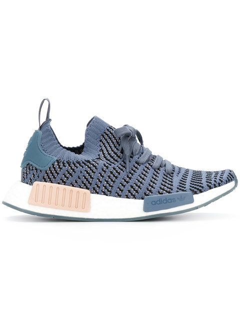 Nmd r2 Leather-trimmed Primeknit Sneakers - Antique rose adidas Originals FZf7R